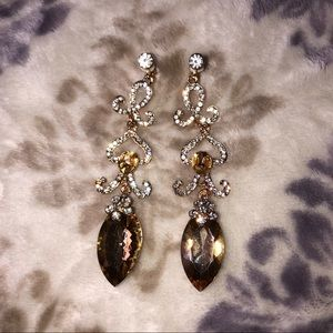 Clip on earrings Swarovski Crystal gold topaz